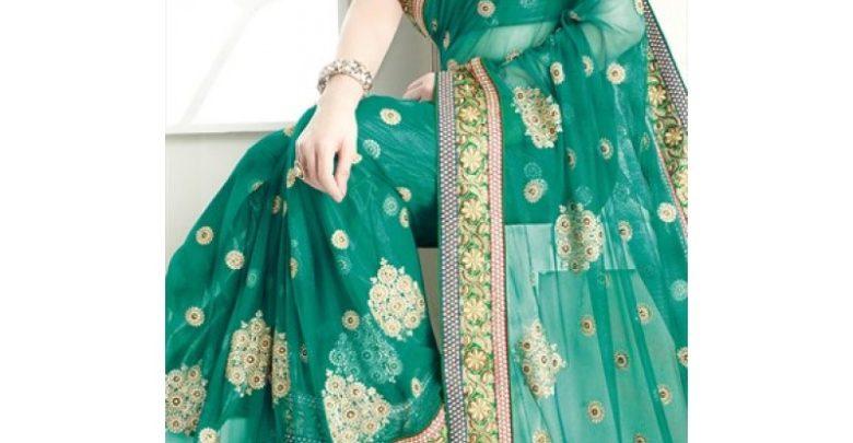 Photo of 29% Réduction Magnifique Sari Vert accompagné d'un majestueux travail de broderie – 2599dhs