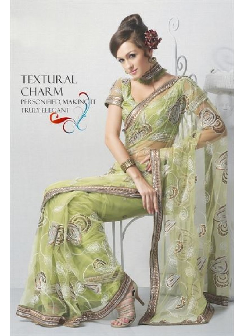 trendy-net-saree-in-green-with-different-look-800x1100