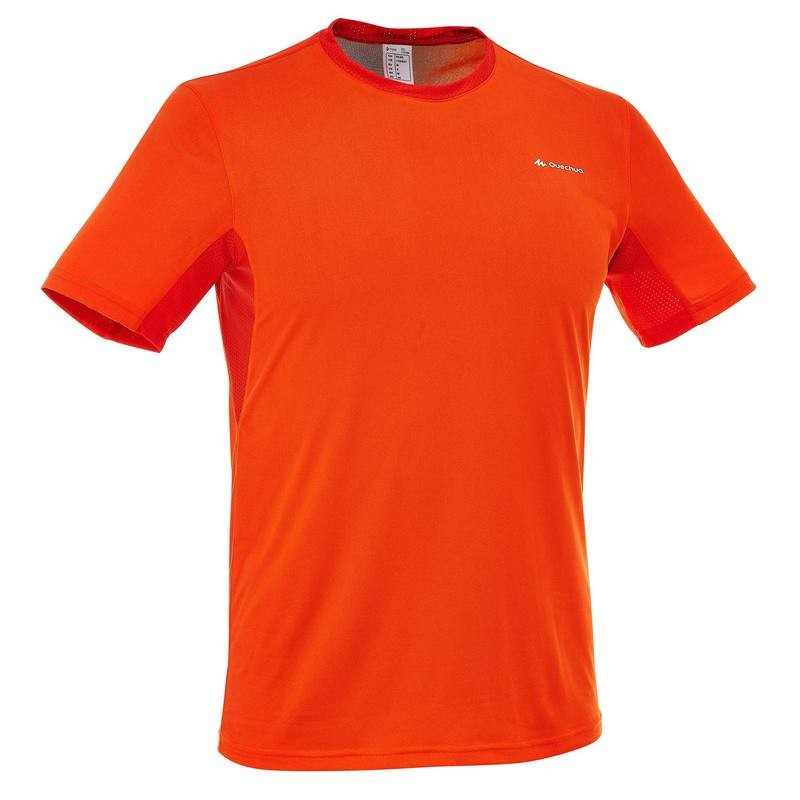 t-shirt-manches-courtes-randonnee-techfresh-50-homme-orange