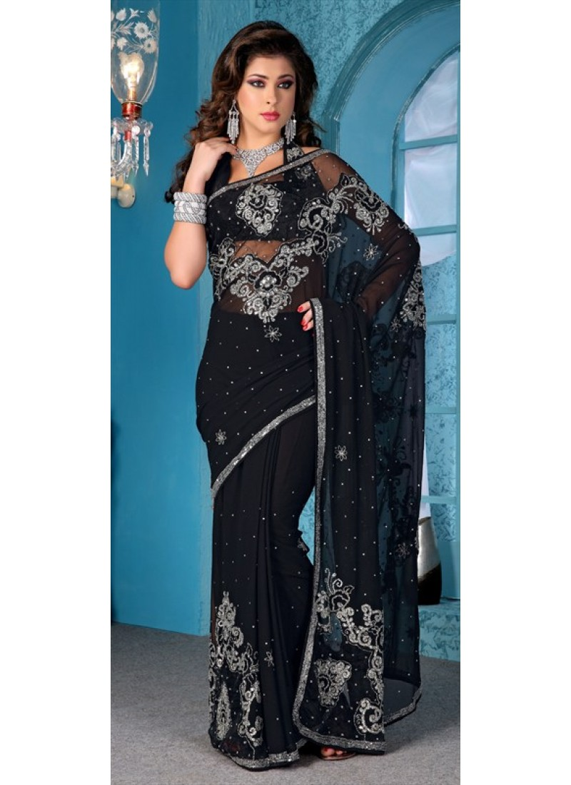 amazing-black-faux-georgette-saree-with-diamond-and-border-work-800x1100