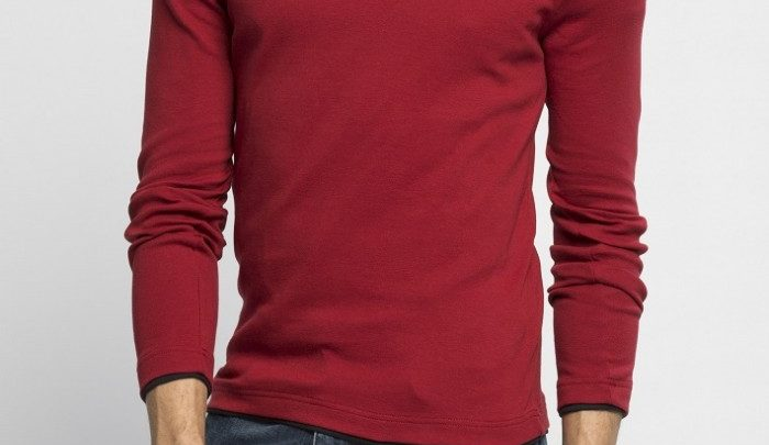Photo of 73% Réduction Burgundy Long Sleeve Solid Skinny Crew Neck T-Shirt – 29dhs