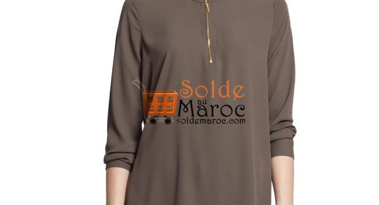 Photo of 55% Réduction Khaki Solid Large Long Sleeve Tunic – 119dhs