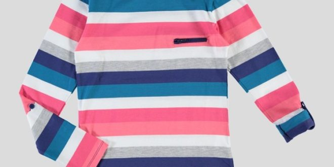 20% Réduction Orange Striped Long Sleeve Crew Neck Top – 79dhs