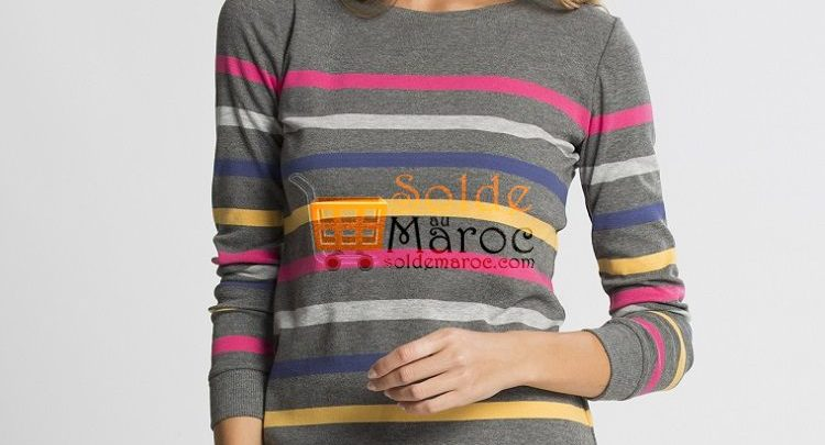 Photo of 26% Réduction Grey Striped Long Sleeve Crew Neck Standard Body – 109dhs