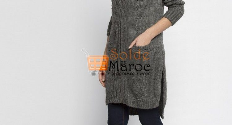 Photo of 23% Réduction Anthracite Solid Hooded Cardigan – 259dhs
