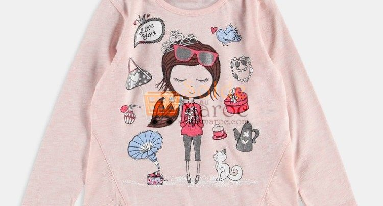 Photo of 28% Réduction Pink Printed Long Sleeve Crew Neck Body – 49dhs