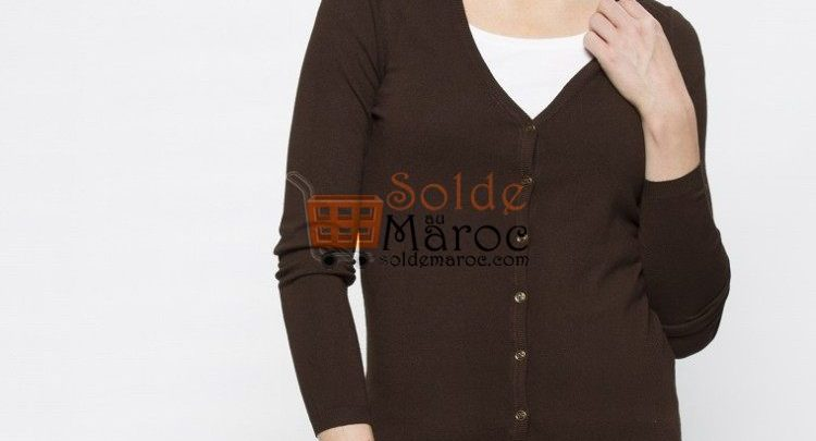 Photo of 46% Réduction Brown Solid V neck Cardigan – 79dhs