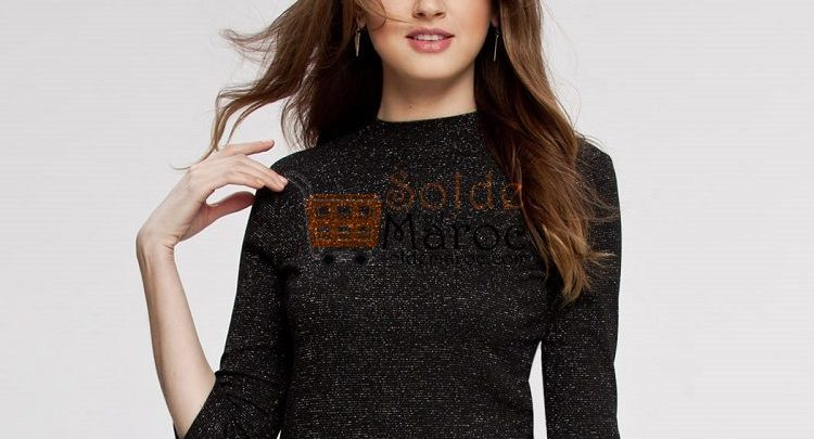 Photo of 60% Réduction Black Solid Standard Long Sleeve Crew Neck Top – 59dhs
