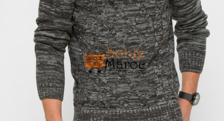 Photo of 20% Réduction Anthracite Solid Sweater – 189dhs