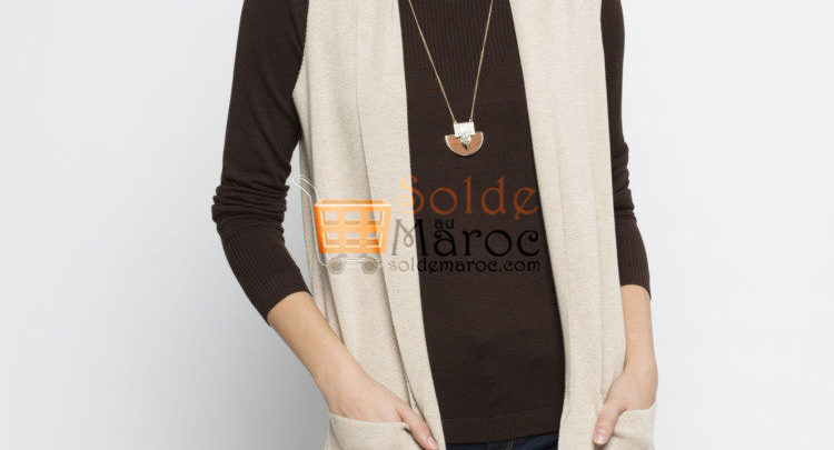 Photo of 36% Réduction Beige Solid Lightweight Vest – 139dhs