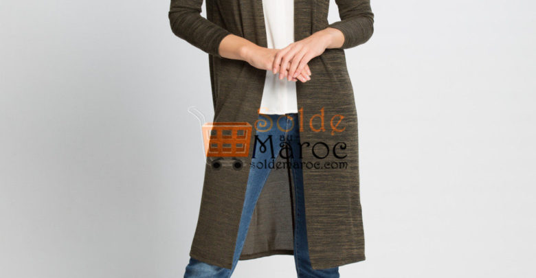 Photo of 41% Réduction Khaki Solid Cardigan – 99dhs