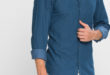 41% Réduction Blue Long Sleeve Solid Skinny Buttoned Shirt – 99dhs