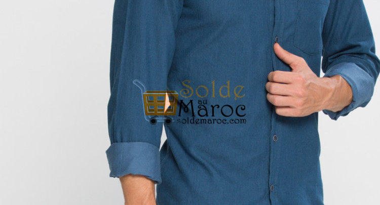 Photo of 41% Réduction Blue Long Sleeve Solid Skinny Buttoned Shirt – 99dhs