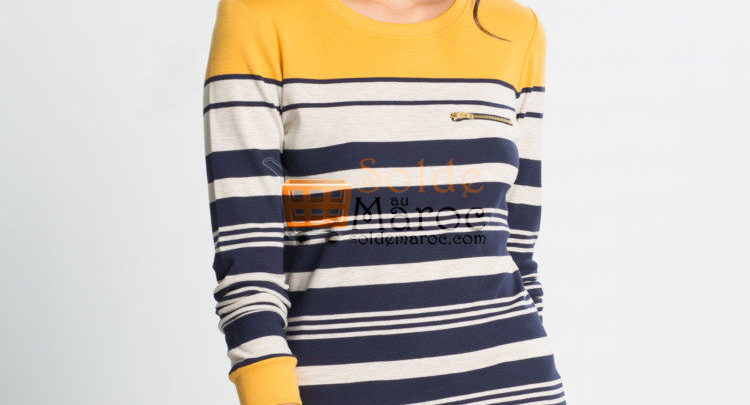 Photo of 60% Réduction Green Standard Striped Long Sleeve Crew Neck Body – 59dhs