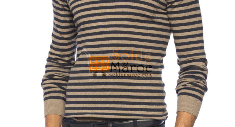 Photo of 42% Réduction Beige Striped Crew Neck Sweater – 69dhs