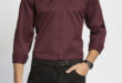 47% Réduction Burgundy Skinny Long Sleeve Solid Buttonless Shirt – 89dhs