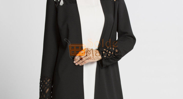 Photo of 39% Réduction Black Lightweight Midi Short coat – 289dhs