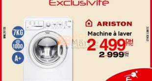 16 Réduction Lave linge Ariston 7kg – 2 499 DH