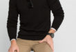 46% Réduction Black Solid V neck Sweater – 79dhs