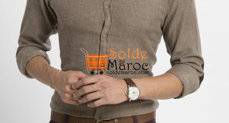 Photo of 54% Rédcution Brown Skinny Long Sleeve Solid Buttoned Shirt – 99dhs