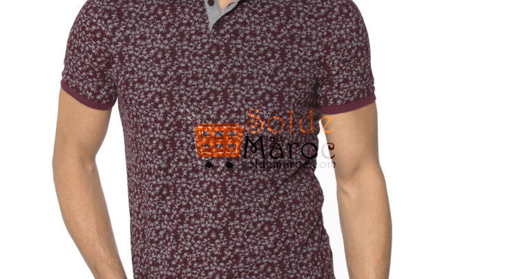 Photo of Nouveau Burgundy Skinny Short Sleeve Polo Printed T-Shirt 109Dhs