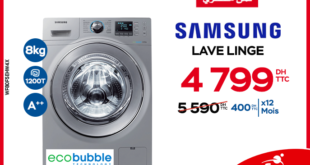 14% Réduction la machine à laver Samsung Eco Bubble chez Electroplanet