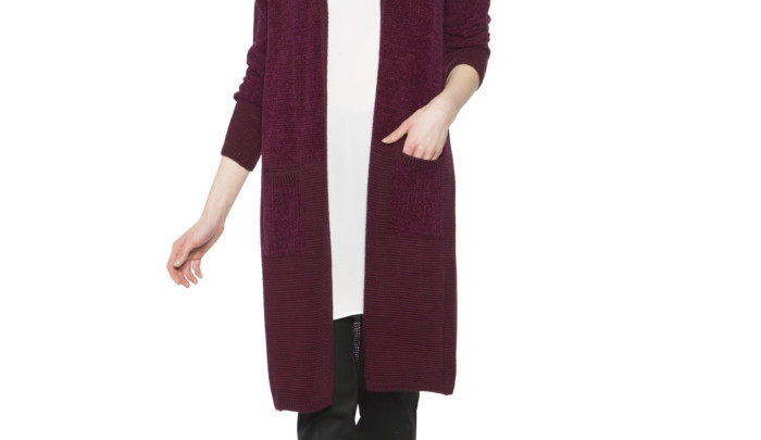 Photo of 37% Réduction Burgundy Solid Cardigan 119dhs