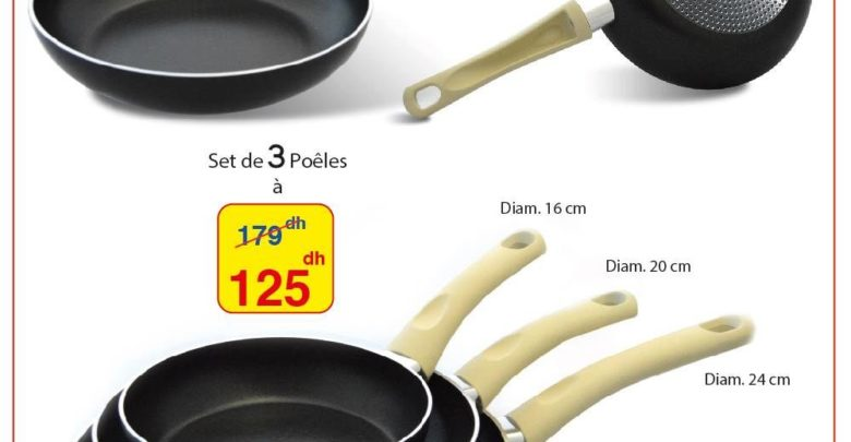 Photo of Promo Alpha55 Set de 3 poêles made in Italy 125 dhs