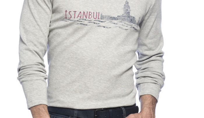 Photo of 40% Rédcution Grey Standard Long Sleeve Printed Crew Neck T-Shirt 59dhs