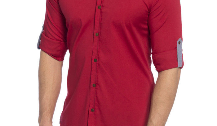 Photo of 16% Réduction Red Long Sleeve Super skinny Buttoned Solid Shirt 99dhs