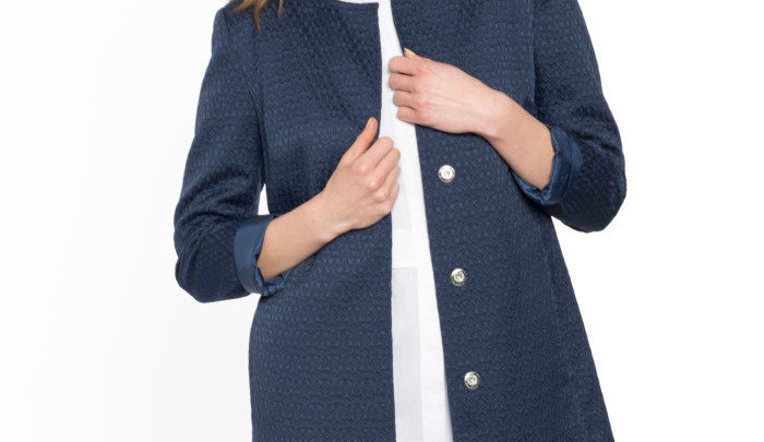 Photo of 41% Réduction Navy Lightweight Midi Short Coat 259dhs