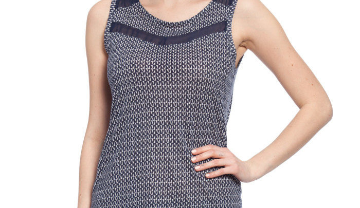 Photo of 25% Réduction Navy Printed Standard Crew Neck Sleeveless Jersey Tank Top 59dhs