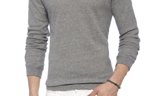 Photo of 21% Réduction Grey Standard Solid Long Sleeve Crew Neck T-Shirt 109dhs