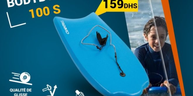 Bodyboard Tribord 100S 1er Prix Technique + Leash 159dhs