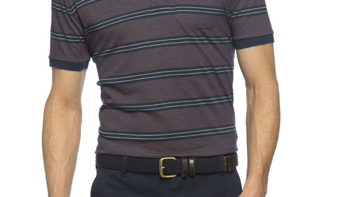Photo of 42% Réduction Burgundy Standard Short Sleeve Striped Polo T-Shirt 69dhs