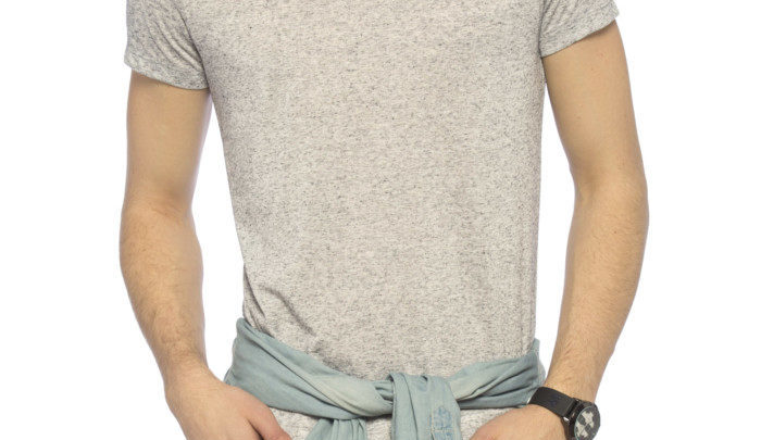 Photo of 16% Réduction Grey Skinny Short Sleeve Solid V neck T-Shirt 49dhs