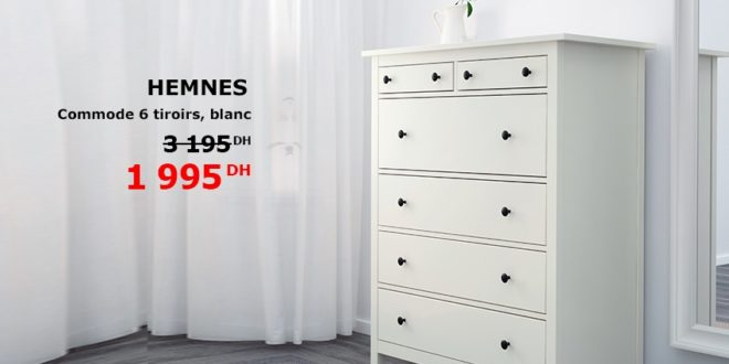 promo ikea maroc commode 6 tiroirs hemnes 1995dhs promotion du maroc. Black Bedroom Furniture Sets. Home Design Ideas