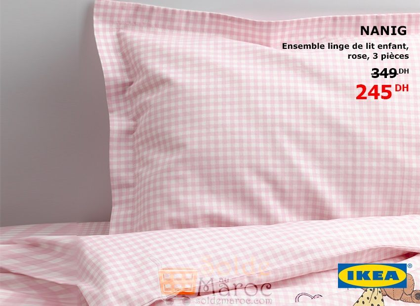 promo ikea maroc ensemble 3 pi ce linge de lit enfant rose. Black Bedroom Furniture Sets. Home Design Ideas