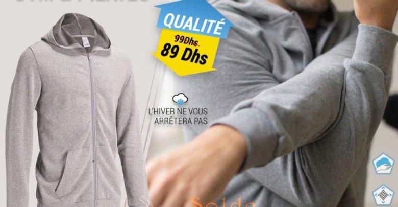 Photo of 10% Réduction Veste capuche Gym & Pilates homme gris chiné 89Dhs