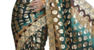10% Réduction Superbe Sari Bleu Vert Avec Des Motifs Dorés 899Dhs