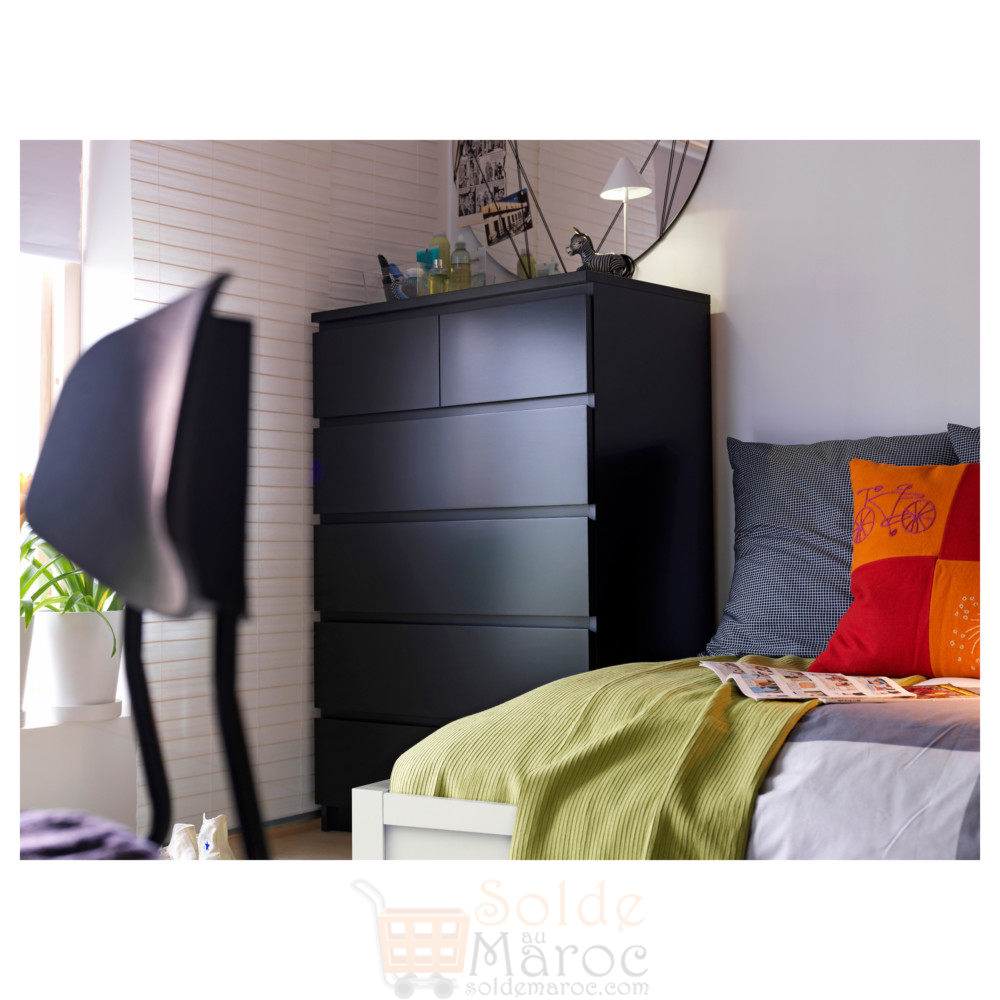 soldes ikea maroc commode 6 tiroirs malm noir brun 999dhs. Black Bedroom Furniture Sets. Home Design Ideas