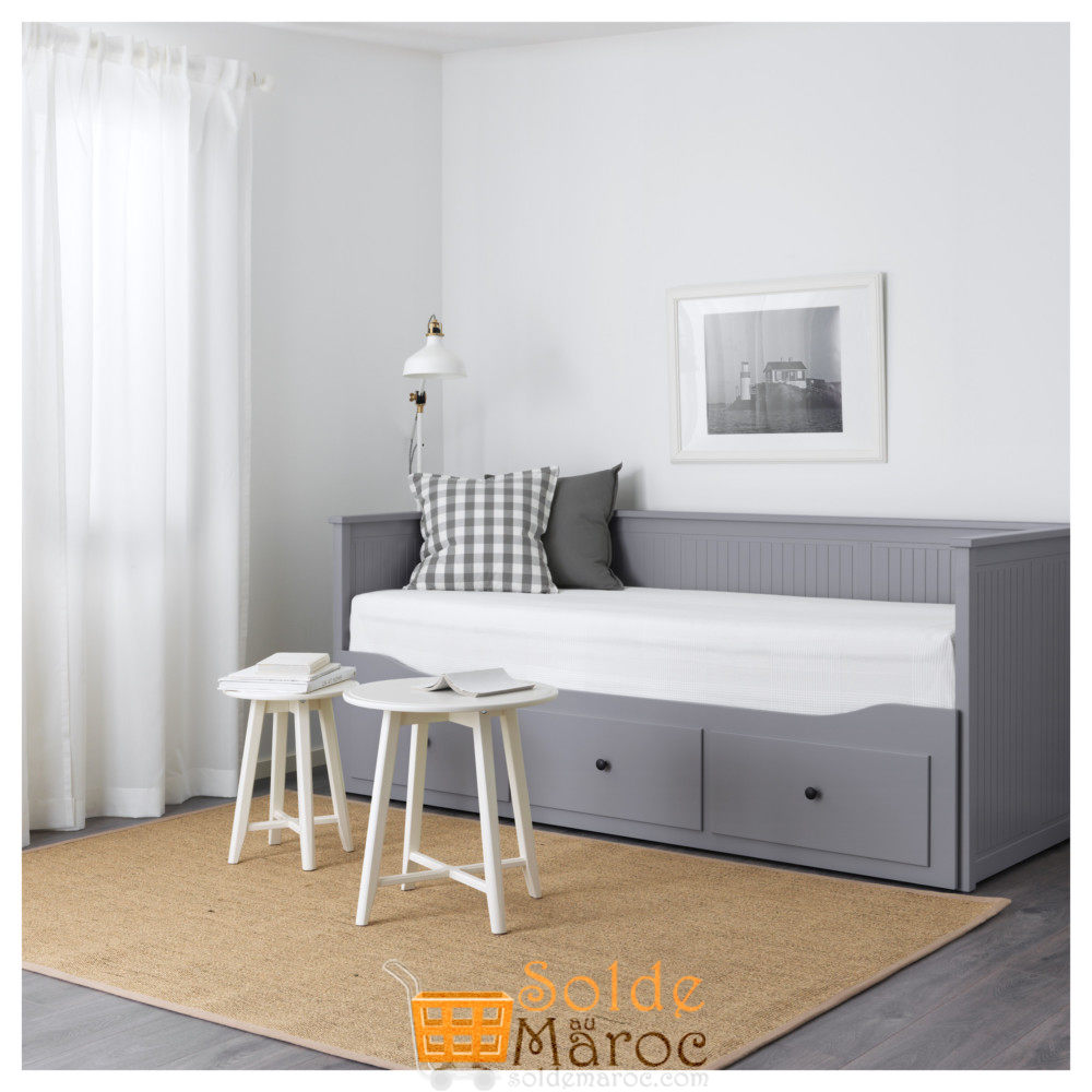 soldes ikea maroc lit d appoint hemnes 3tiroirs 2matelas gris moshult ferme 4895dhs solde et. Black Bedroom Furniture Sets. Home Design Ideas