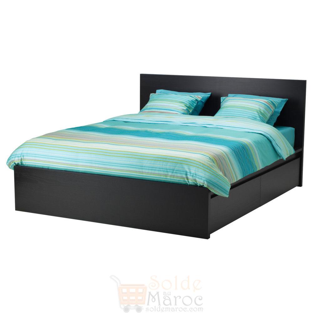 Tete De Lit Ikea Bois solde ikea maroc cadre lit haut malm avec 2 rangements
