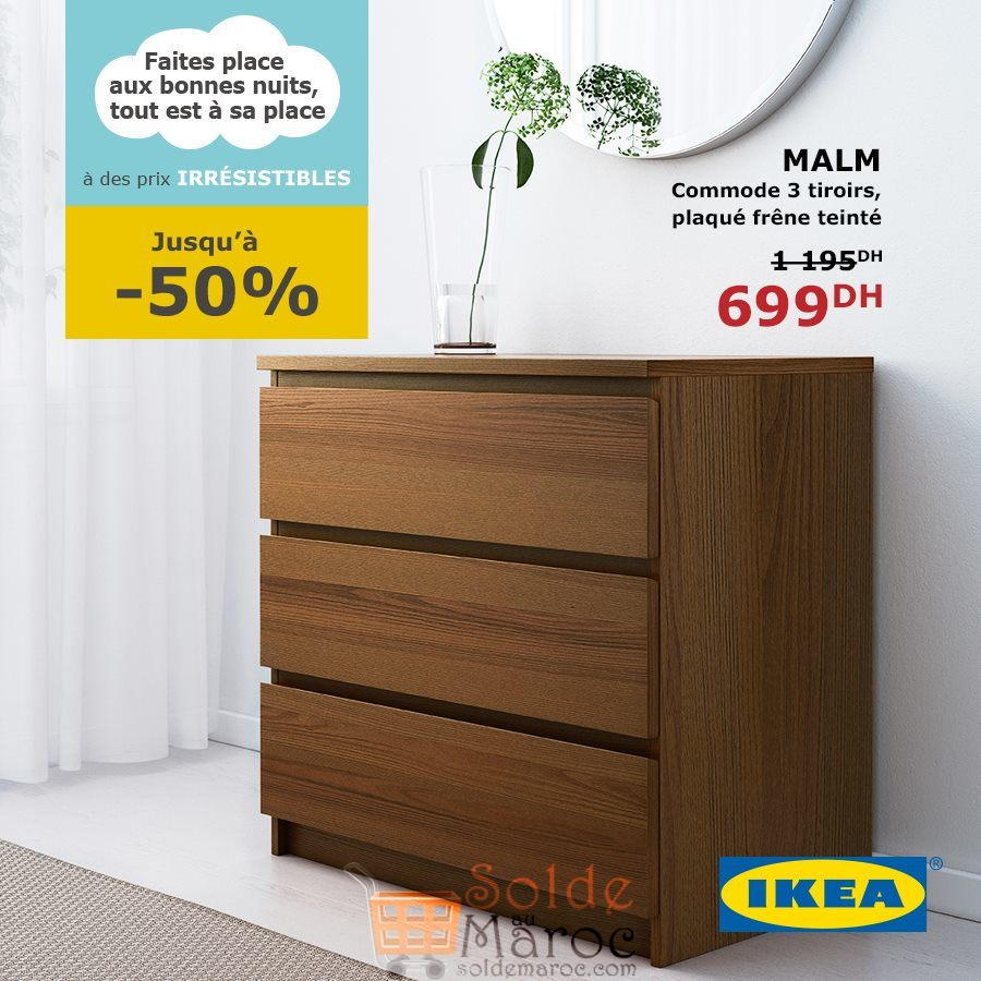 soldes ikea maroc commode malm 3 tiroirs 699dhs les soldes et promotions du maroc. Black Bedroom Furniture Sets. Home Design Ideas