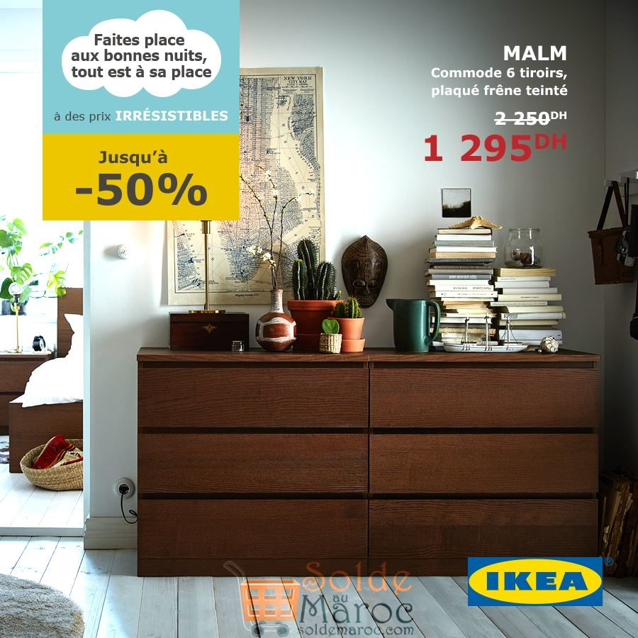 soldes ikea maroc commode malm 6 tiroirs 1295dhs solde. Black Bedroom Furniture Sets. Home Design Ideas