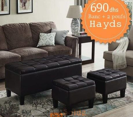 Photo of Soldes Azura Home Banc + 2 Poufs Hayds 690Dhs