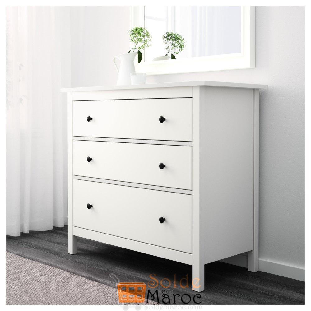 soldes ikea maroc commode hemnes 3tiroirs blanc 1595dhs les soldes et promotions du maroc. Black Bedroom Furniture Sets. Home Design Ideas