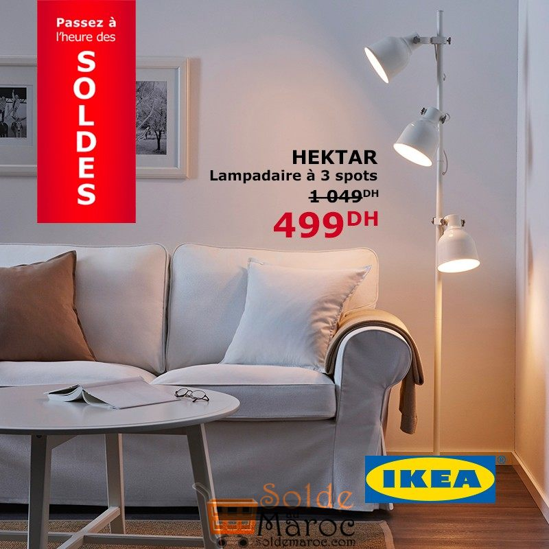 soldes ikea maroc lampadaire 3 spots hektar 499dhs. Black Bedroom Furniture Sets. Home Design Ideas
