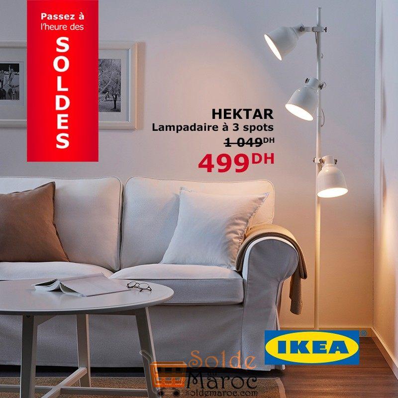 soldes ikea maroc lampadaire 3 spots hektar 499dhs les soldes et promotions du maroc. Black Bedroom Furniture Sets. Home Design Ideas