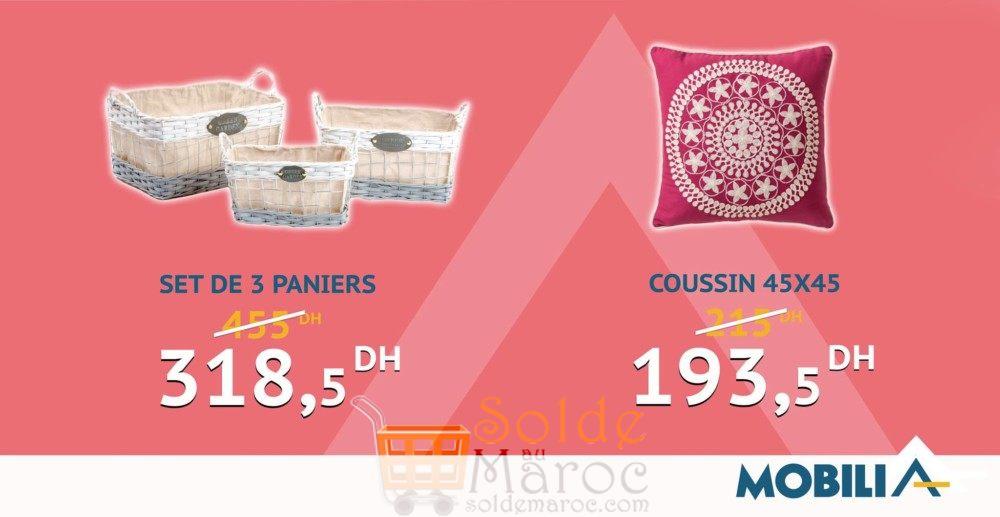 Hmizate mobilia paniers coussins solde et promotion du for Mobilia 2018 maroc